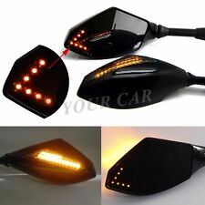Motorcycle Cruiser LED Turn Signal Rearview Mirrors Universal 8-10mm Smoke Lens