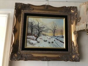 Dorothea Buxton-Hyde Original Oil painting of snow scene traditional gilt frame