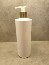White Lotion Pump Bottle 500ml Cylinder Pet Plastic Gold Hinch Bathroom Soap