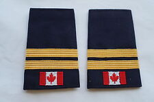 Canadian Fire Two 2 Bar Gold Braid Shoulder Slip Ons Pair
