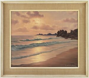 Sunset on the Coast Oil Painting by Roger de la Corbière (French, 1893-1974)