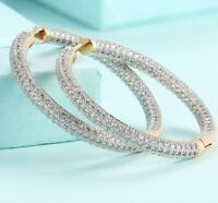 "Pave with Crystals 1"" Hoop Earrings 18k Gold Plated with Swarovski Crystals"