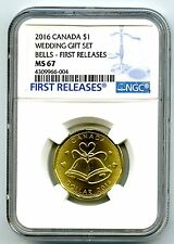 2016 CANADA $1 WEDDING BELLS NGC MS67 FIRST RELEASES LOON LOONIE RARE TOP POP=7