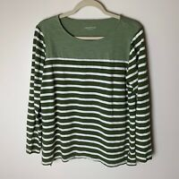 Coldwater Creek Women's Top Size Large 3/4 Sleeves Stripes Cotton Casual Green