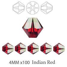 4 mm rouge indien AB Bicone Perles de verre