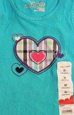 Jumping Beans Toddler Girls 3T Sleeveless 100% Cotton Knit Top Hearts Turquoise