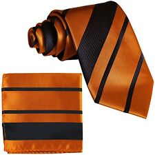 New Men's Polyester Stripes Neck Tie necktie and Pocket Square Hankie Set Gold