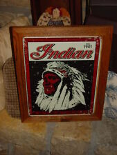 INDIAN MOTORCYCLE CUSTOM MAN CAVE CEDAR FRAMED WEATHERED LOGO METAL BAR SIGN