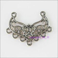 3Pcs Tibetan Silver 2-7 Flower Charms Pendants Connectors 22x29mm