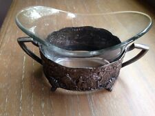Vintage Holland Ware Sheffield on Copper W/ Glass Bowl Condiment Set Silver