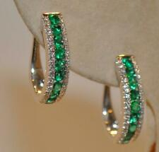 Estate 1.11 Ct Emerald And Diamond Hoop Earrings In 14K White Gold Over Silver