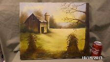 2556M Vtg 20x16 Painting on Canvas BARN & FIELD Signed Doane & Dated 1988 EXC