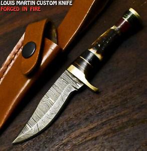 Louis Martin Rare Handmade Damascus Steel Stag Antler Hunting Skinner Knife