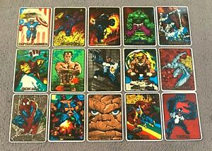 1992 Marvel Masterpieces Vending Prism Sticker Card Set of 15 W/ Border Rare!