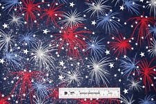 Fireworks Silver Glitter Red White Blue Navy July 4th Cotton Fabric  BTY  (E) *