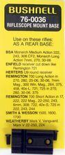 BUSHNELL 76-0036 SCOPE MOUNT REAR BASE FOR BSA ENFIELD REMINGTON HERTERS S&W +