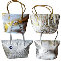Large Tote Shopper Bag Silver Gold Animal Print Or Striped Celeb Style Beach Gym