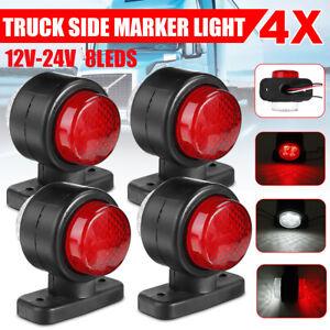 4x 12V 24V 8 LED Waterproof Side Marker Light Lamp Red & White For Trailer Truck