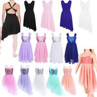 Girls Ballet Dance Dress Kids Leotard High-Low Tutu Skirt Lyrical Dance Costumes