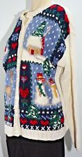 Ugly Sweater Christmas Snowman Cardigan Hand Knitted Womens Large L Santa Button