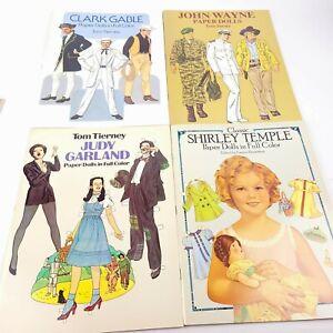 Color Paper Dolls Judy Garland, John Wayne, Shirley Temple, and Clark Gable