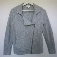 The White Company Blue Ivory Marl Biker Casual Zip Through Jersey Jacket Size S