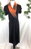 KONDO TRICOT Black Orange Trim Stretch Short Sleeve Mid Calf Dress - Size 8