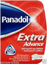 14 x Panadol Extra Advance Pain Relief Tablets Headche Migraine Back ache Colld