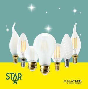 Lampadina a Filamento LED e27 e14 Lampada Oliva Goccia Fiamma Sfera