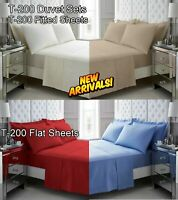 Bedding Duvet Quilt Cover Set Fitted Flat Sheet Shams 100% Egyptian Cotton T200