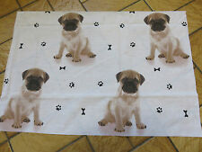 Pug cute puppy dog puppies paw print bones craft fabric remnant 60x40cm approx