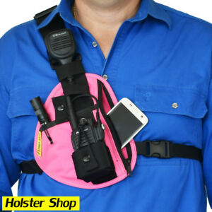 Phone & Radio Holster Chest Harness - Right - Pink - Two Ants Pharaoh CT100SRPK