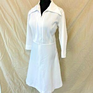 Vintage Nurse Uniform Dress size L Ribbed Pintuck Zip Front Disco Collar DS4