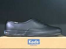 Keds Womens Low Top Champion Leather Oxford Black Lace Up Sneakers Shoes NIB