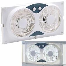 Dual Blade 9-Inch Twin Window Fan 3-Setting Airflow Control Auto-Locking, White