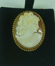 VINTAGE ESTATE CARVED SHELL CAMEO 9K/CT YELLOW GOLD BROOCH/PIN C 1960'S # 16724