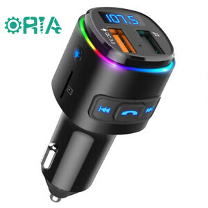 FM Transmitter Bluetooth Adapter 7 LED Backlight For Car QC 3.0 Quick Charger
