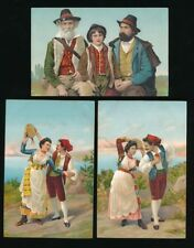 Italy? Ethnic Costume Fashion Dress x8 c1900/20s? PPCs on thick card
