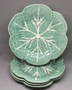 "Lot of 4 Bordallo Pinheiro Cabbage Green Luncheon Plates 9.25"" Majolica Portugal"