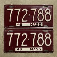 Massachusetts 1948 license plate pair 772788 RMV clear YOM Ford Chevy Buick