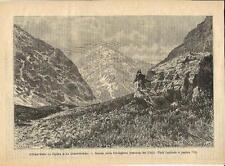 Stampa antica JUNCAL Cordigliera panorama Cile Chile 1887 Old antique print