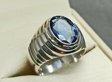 Rare Oval Cut Deep Blue Topaz Ring Sterling Silver 925 Handmade Topaz Mens Ring