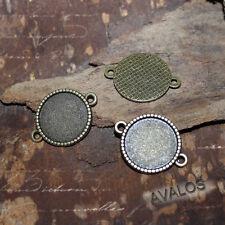 10 schlichte runde Verbinder für Cabochons 16mm, Steampunk, antik bronze