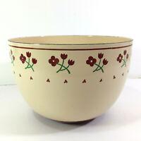 "Vintage Kobe Kitchen Japan Enameled Steel Bowl Flower Design 8.25"" Across x 5.5"""