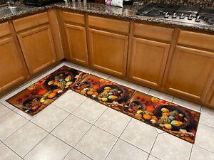 3 Piece Non-Slip Kitchen Mat Backing Doormat Runner Rug Set Made in Turkey