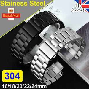 Mens 304 Stainless Steel Metal Watch Band Belt Buckle Replacement Strap 16-24mm