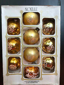 vintage christmas glass stenciled gold ornaments lot of 10