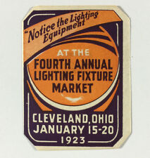 Poster Stamp Cinderella 4th Annual Lighting Fixture Market Cleveland Ohio 1923