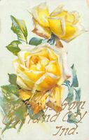Oakland City Indiana~Embossed Yellow Rose Greetings~Gold Font 1908 Houston OH