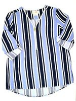 Wishful Park 3/4 zip Striped Tunic Dress Shirt Top Blouse Women's Size M Medium